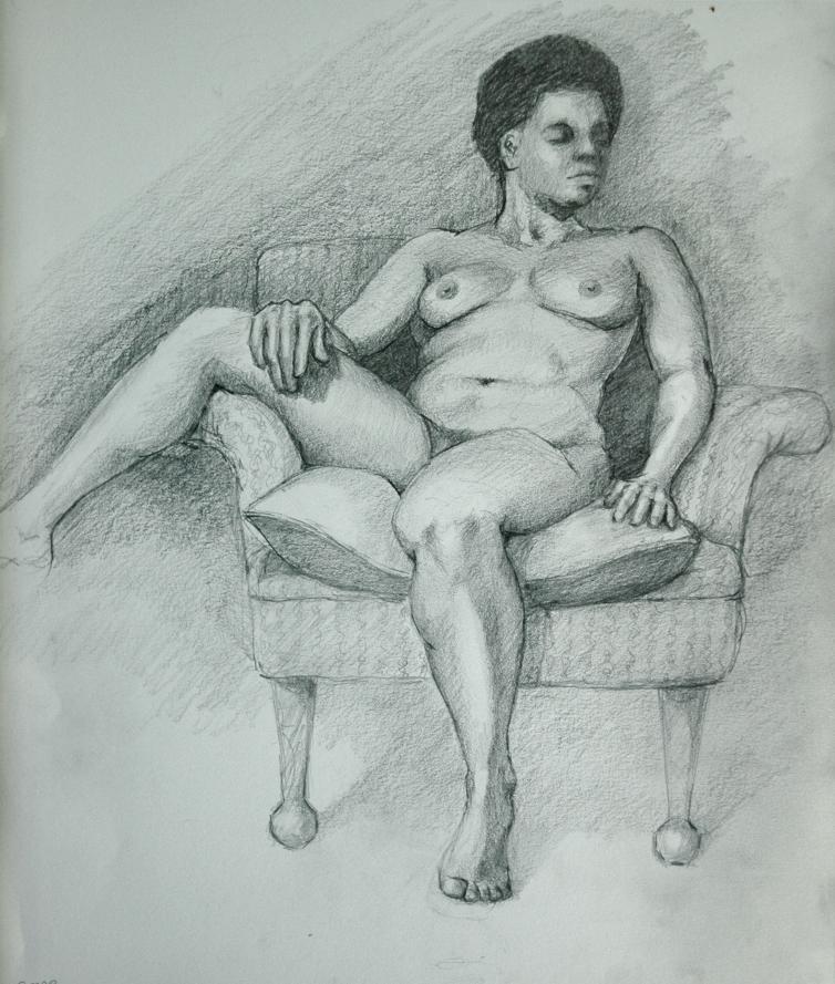 G, in pencil