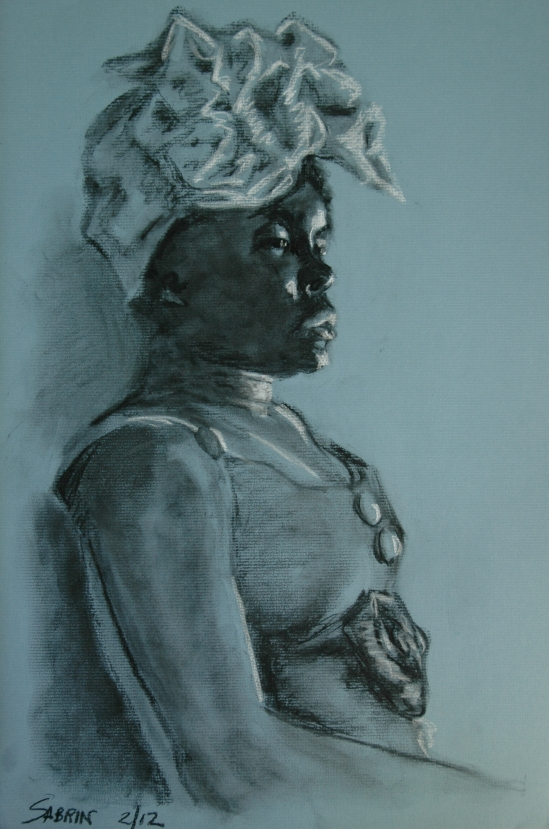 Sabrin, in charcoal and profile