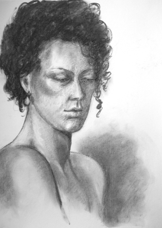 Becky portrait in charcoal