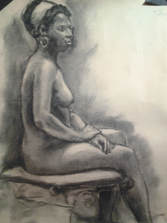 35-minute pose in charcoal