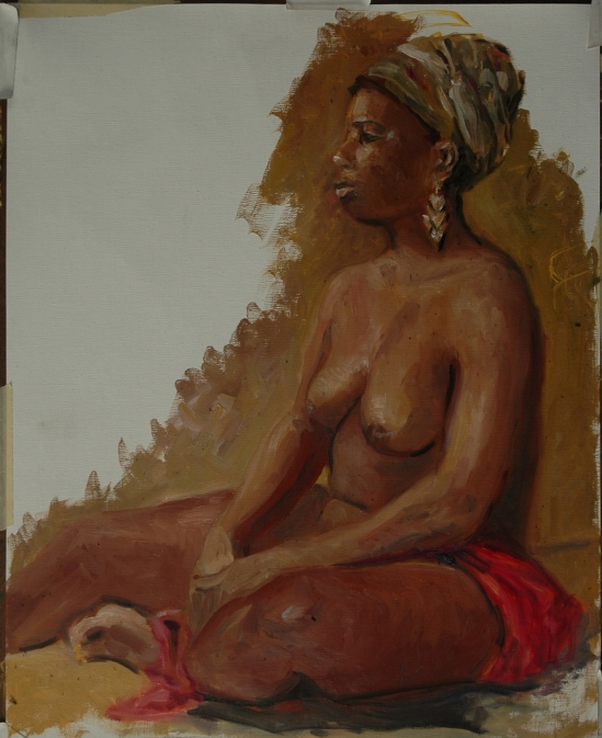 Figure in Turban and red drape WIP