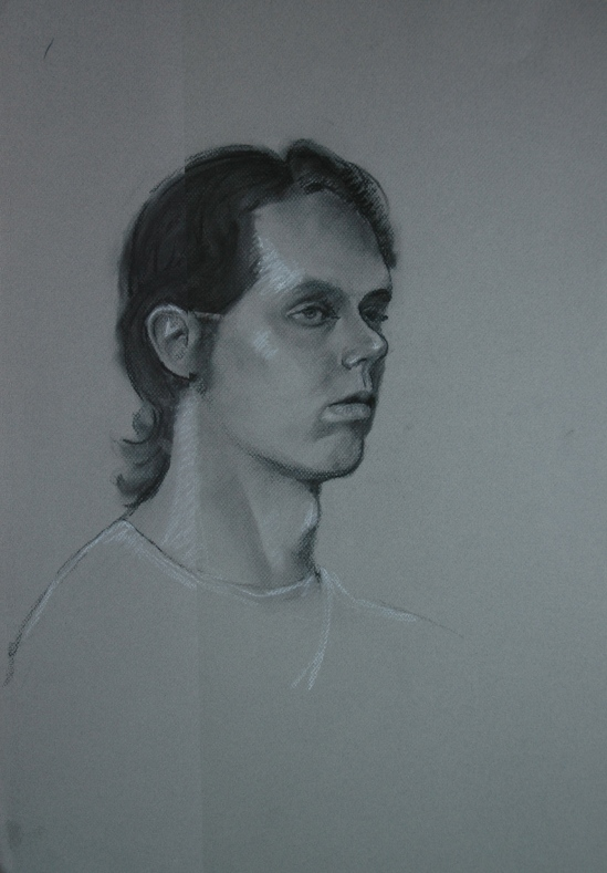 Portrait of Dennis in charcoal