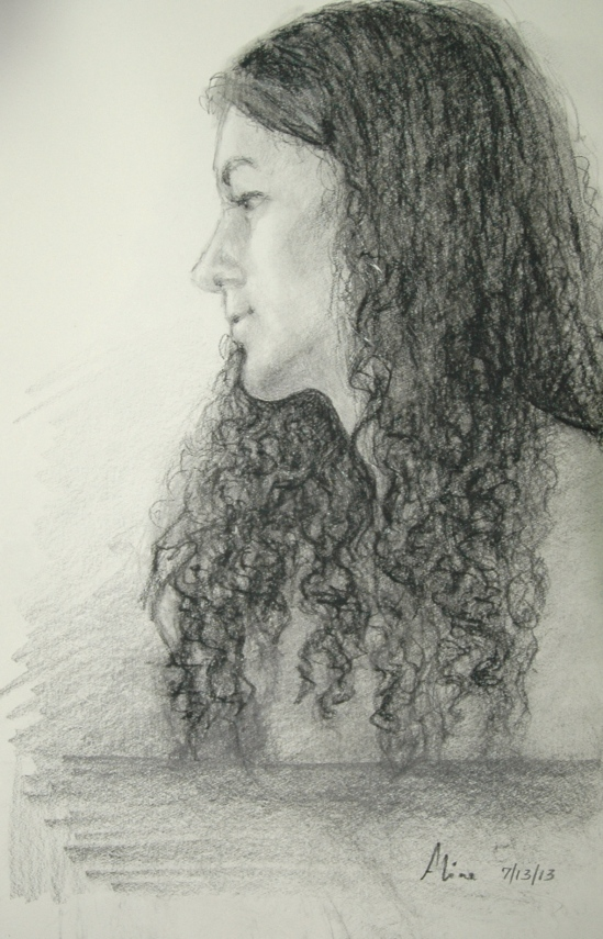 Margaret, profile, in graphite