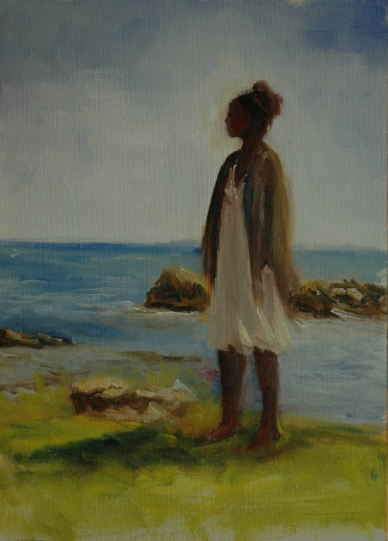 Grace, standing at edge