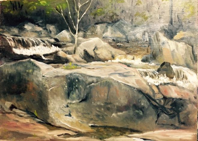 Portrait of Big Rock at Jackson Falls
