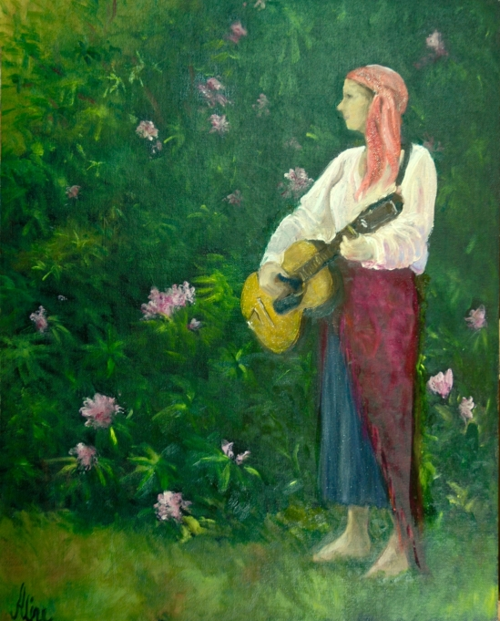 Judy with Guitar and Rhododendrons